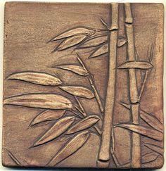 Asian style Windblown Bamboo Tiles   Set of 3 por RavenstoneTiles