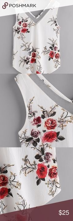 Mesh Double V Neck Curved Floral Tank Top Material:100% Polyester Color:White, Multi color Pattern Type:Floral Print Neckline:V Neck Style:Sexy, Elegant Fabric:Fabric has no stretch Season:Summer Shoulder(Cm):XS:36cm Length(Cm):XS:65cm Bust(Cm):XS:91.5cm Size Available:XS Tops Blouses