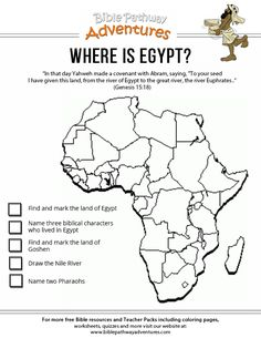 Enjoy our free Bible worksheet: Where is Egypt? Fun for kids to learn about the Bible. Free Bible printables for homeschoolers and Sunday School lessons. Ancient Egypt Lessons, Ancient Egypt Activities, Ancient Egypt For Kids, Ancient History, World History Teaching, World History Lessons, Art History, Egypt Map, Luxor Egypt