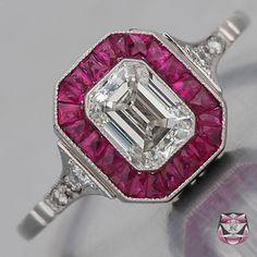 Art Deco Engagement Ring - 0.91ct H/VS Emerald-cut Diamond