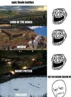 Epic Final Battles – LOTR, Harry Potter, Narnia VS Twilight (excuse the language) Twilight Harry Potter, Gina Harry Potter, Harry Potter Humor, Twilight Hate, Funny Twilight, Memes Humor, Funny Memes, That's Hilarious, Epic Movie