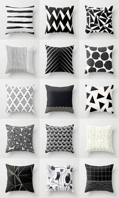 9 All Time Best Tips: Decorative Pillows Quotes Reading Nooks cute decorative pillows blankets.Decorative Pillows With Sayings Sweets decorative pillows ideas floor cushions.Decorative Pillows On Sofa Inspiration. Black And White Cushions, Black White Decor, Black And White Living Room Ideas, White Sofas, White Cushion Covers, Geometric Cushions, Geometric Art, Throw Pillow Cases, Pillow Design