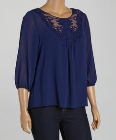 Look what I found on #zulily! Navy Floral Lace Button-Front Top - Plus #zulilyfinds
