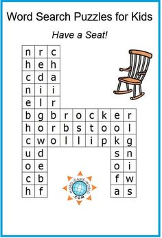 Here's a simple, fun word search puzzle for kids! They'll need to find just ten words, all about names of seats. The puzzle is in a fun seat-shaped grid! A free from Easy Word Search, Free Word Search Puzzles, Kids Word Search, Word Search Games, Word Games, 2nd Grade Spelling Words, Family Fun Night, Puzzles For Kids, Word Work