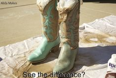 Have a pair of Blah cowboy boots? This could be fun. Cowgirl Outfits, Cowgirl Boots, Cowgirl Clothing, Turquoise Cowboy Boots, Shoe Refashion, Dyi, Painted Shoes, Most Beautiful, Pairs