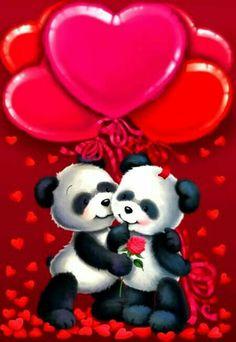 Valentine's - Gabi Murphy Love Heart Images, Love You Images, Panda Wallpapers, Cute Cartoon Wallpapers, Panda Love, Cute Panda, Bear Wallpaper, Love Wallpaper, Image Jesus