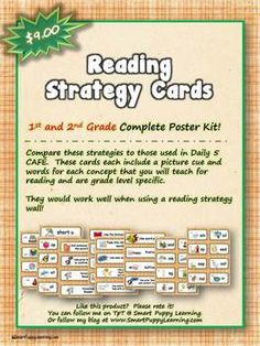 This set of reading strategy cards are specific to the needs of strategies taught in first and second grade.  Compare them to the strategies seen in Daily 5 CAFE.