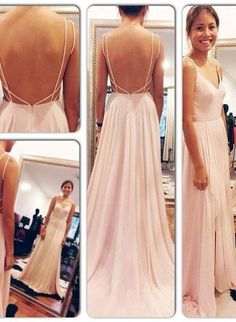 Backless Prom Dresses Spaghetti Straps V Neck Pink Open Back Chiffon Long Evening Gowns