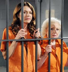 Betty White with Jane Leeves on her current show, 'Hot in Cleveland.'