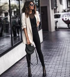 Pinterest: •Linell• Leith oversize blazer and Jimmy Choo mesh booties.