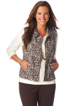 Is she a teacher or a student?  Animal Print Silky Cord Vest from Christopher and Banks, Heritage Mall.