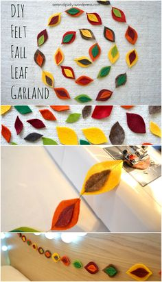 Another easy DIY to decorate your bedroom for fall! Fall Leaf Garland, Diy Garland, Garlands, Felt Diy, Felt Crafts, Felt Leaves, Diy Projects To Try, Felt Projects, Felt Decorations