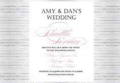 Shuttle Bus Transportation Wedding Ceremony and Reception Sign - Krystals Wedding Invitations #weddings #weddingsigns