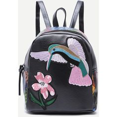SheIn(sheinside) Black Bird Embroidered PU Backpack (64 RON) ❤ liked on Polyvore featuring bags, backpacks, black, pu bag, polyurethane bags, pattern bag, embroidery bags and embroidered backpacks