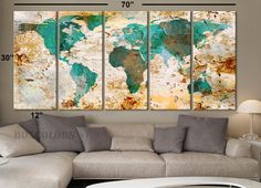 "XLARGE 30""x 70"" 5 Panels 30""x14"" Ea Art Canvas Print World Map Original Watercolor texture Old Wall design Home Office decor green ( framed 1.5"" depth) - BoxColors"