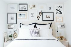 I'd like to do a gallery wall behind bed for bedroom, & I like mixed frames like this Wall Behind Bed, Bed Wall, Gallery Wall Bedroom, Bedroom Wall, Teen Bedroom, Bedroom Ideas, Gallery Walls, Bedroom Designs, Master Bedroom