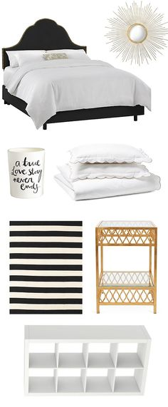 What's black and white and gold all over? A chic bedroom.
