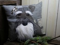 Bearded Schnauzer Patchwork Cushion, Crazy, Retro, Funky, Tweed, Velvet, Dog Embroidered Cushion,