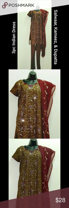 """3pc Indian Dress l Salwaar Kameez Dupatta l Large Beautiful 3pc Chuddidar (Salwar /pants) Kameez Dupatta Indian Dress. Intricate sequin embellishments.  * Kurta: Tunic embellished with sequins  * Salwar: Long Drawstring tights / pants  * Dupatta: Long scarf embellished with sequins  Approx measurements: Kurta/Top: Bust - 42 """", Waist 42"""", Hip - 44"""", Length - 36  Additional 2-4 inches of fabric to make the top larger.   Bundle multiple purchases to avail discounts and save on shipping. Dresses"""