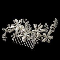 Silver Clear Austrian Crystal & Rhinestone Floral Prom Bridal Wedding Hair Comb