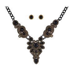 Fashion Jewelry Sets Gold Plate Black Resin Bead Choker Collar Party Gift Bridal Jewelry Woman's Statement Necklace Stud Earring