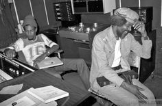 """Crucial Bunny at the left. At the right, Tommy Mc Cook relaxing after several hours of recording"""