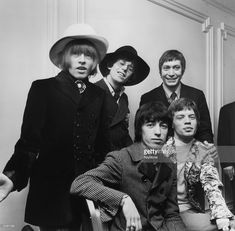 British rock group The Rolling Stones; from left to right, Brian Jones (1942 - 1969), Bill Wyman, Charlie Watts, Keith Richards and Mick Jagger.