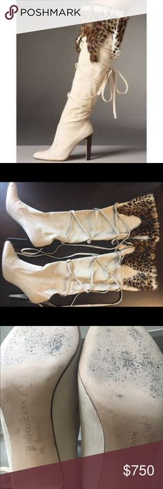 Manolo Blahnik Boots Manolo Blahnik over-the-knee goatskin suede boot with crisscross lacing up calf and ocelot print goat fur trim at top of boot. Retail $1495 plus tax. Manolo Blahnik Shoes Over the Knee Boots