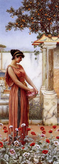 An Idle Hour: 1890 by John William Godward (Private Collection - Location Unknown) Pre-Raphaelite / Neo-Classicist