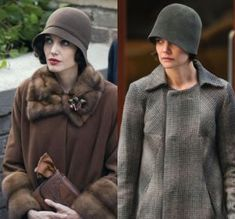 The left picture reminds me of daisy.  The fur inside of the coat the brown color, the brown hat is a good accessories.
