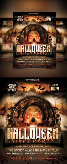 Halloween Night Party Flyer Template PSD #design Download: http://graphicriver.net/item/halloween-night-party-flyer/13274414?ref=ksioks