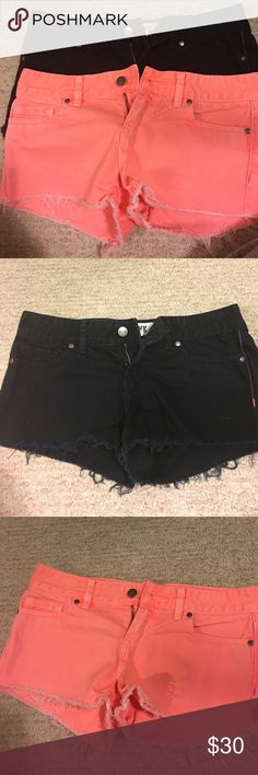 Black & coral shorts Size 0 they were way too small on me but very cute. Pink- Victoria's Secret. Will sell both together PINK Victoria's Secret Shorts Jean Shorts