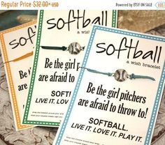Softball Wish Bracelets .. Birthday Favors and More! TEAMWORK .. Team Spirit Great for Gifts
