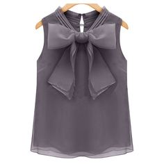 SheIn(sheinside) Grey Sleeveless Bow Chiffon Blouse ($13) ❤ liked on Polyvore featuring tops, blouses, shirts, grey, chiffon blouse, chiffon shirt, grey shirt, sleeveless shirts and sleeveless collared blouse