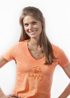 Bee Happy, V Neck, Orange, How To Wear, Shirts, Tops, Women, Fashion, Moda