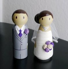 Wedding Wooden Peg Doll Cake Topper with 3D Accessories - Custom made & Personalized