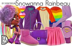 Not afraid of color?  Try out this outfit inspired by Snowanna Rainbeau from Wreck it Ralph.  | Disney Fashion | Disney Fashion Outfits | Disney Outfits | Disney Outfits Ideas | Disneybound Outfits |