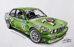 BMW M3 E30 JOSE MARA PONCE. Dibujo a lápices de colores, by javiertraviesa