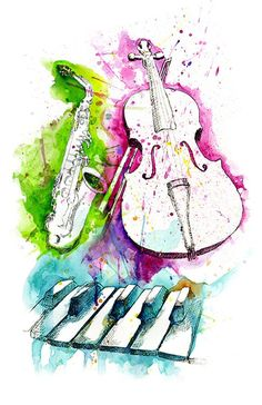 Watercolor Instruments by MyStorySoFar Music Painting, Music Artwork, Music Drawings, Art Drawings, Violin Art, Cello, Music Images, Gcse Art, Grafik Design