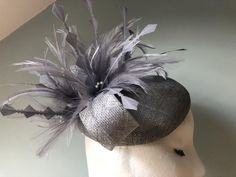 Silver Grey Fascinator with Bow made from sinamay with | Etsy Silver Fascinator, Cocktail Hat, White Feathers, Pretty Lights, How To Make Bows, Pearl Beads, Silver Color, Vintage Dresses, Things To Come