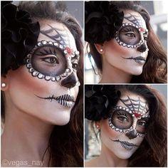 dia de los muertos makeup for Halloween Sugar Skull Costume, Sugar Skull Makeup, Halloween Kostüm, Halloween Face Makeup, Maquillaje Sugar Skull, Dead Makeup, Candy Skulls, Artistic Make Up, Day Of Dead