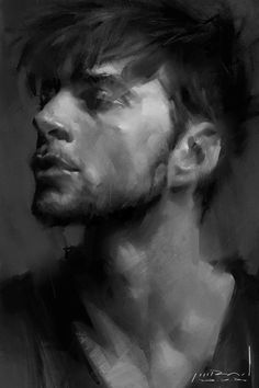 b&w sketching #face #painting #male