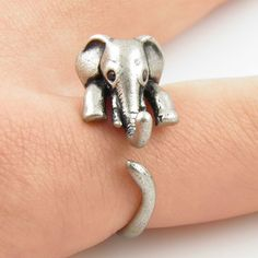 Silver Elephant Wrap Ring