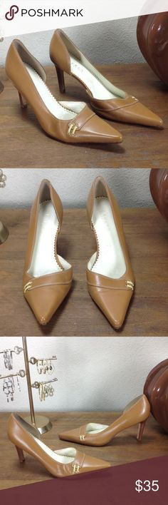Ralph Lauren Tan Leather Pointed Heels Tan leather pointed heels with cream top stitching and dual cream patent leather straps. Features 3 inch stacked wooden heel. In good condition with a few spots (see pics). Thanks for your interest!  Please checkout the rest of my closet. Lauren Ralph Lauren Shoes Heels