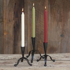 Our Blacksmith Taper Holders come in a set of three so you can decorate with rustic beauty for all occasions #northernlightscandles #candles #accessories #homdecor #taperholders #blacksmith #rustic #new #spring #musthaves