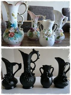 Halloween vases from dollar store items. This works for thrift store and garage/yard/estate sale items. Look for ornate things - goblets, vases, even chandeliers - and paint black (or orange, purple, or whichever color matches your Halloween theme. Halloween Vase, Theme Halloween, Holidays Halloween, Halloween Crafts, Holiday Crafts, Holiday Fun, Happy Halloween, Holiday Decor, Gothic Halloween Decorations