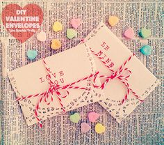 DIY Valentine envelopes made from paper doilies and tissue paper!