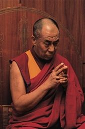 Image 1: His Holiness the Dalai Lama doing his morning practice in his residence, Dharamsala, India, 1997, image by Don Farber