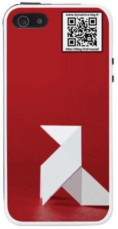 Coque de portable IPhone 5/5s associée à une carte de visite virtuelle via un qrcode : illustration : Cocotte en papier sur fond rouge