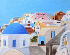 Image result for painting santorini